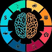 εγκέφαλος και γύρω του σε έναν κύκλο αναγράφονται διαφορετικές λειτουργίες του