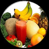 πολλά φρούτα και υγιεινά τρόφιμα