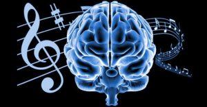 Мозък и нотни линии символизиращи паметта