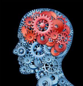 човешка глава със зъбни колелца в нея символизиращи действието на хапчетата за памет Хадерал